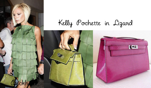Isn t this Kelly Pochette in green lizard lovely  It s a very small bag but  I don t think Victoria needs big bags when she s out for dinner. a57014c12395e