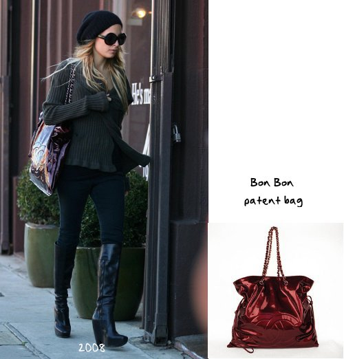 fc7fa1ed3267 The Bon Bon patent shopper in bordeaux is a piece from the Fall 2008  collection  it has metal and leather chain straps and is closed by  drawstrings.