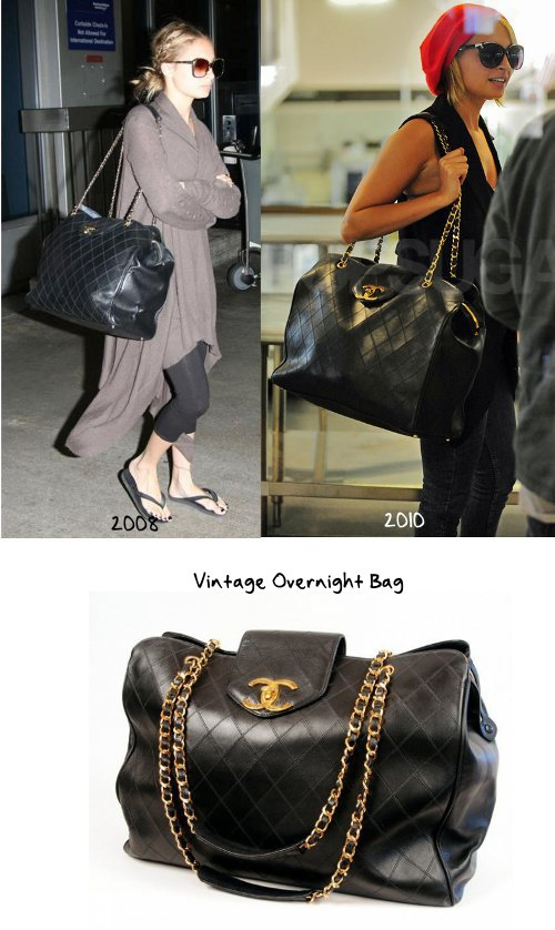 a7a728bbae878a This vintage Overnight bag is probably the biggest Chanel bag she owns. She  has been spotted with it at the airport twice, a good choice because it's  ...