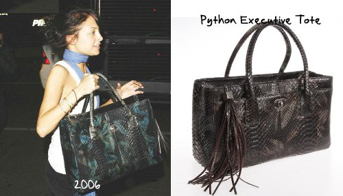 aaa82e308f64 A few moments of silence in front of this amazing Executive tote in python  skin from the Fall 2006 collection. Nicole sported a model made of black  and ...