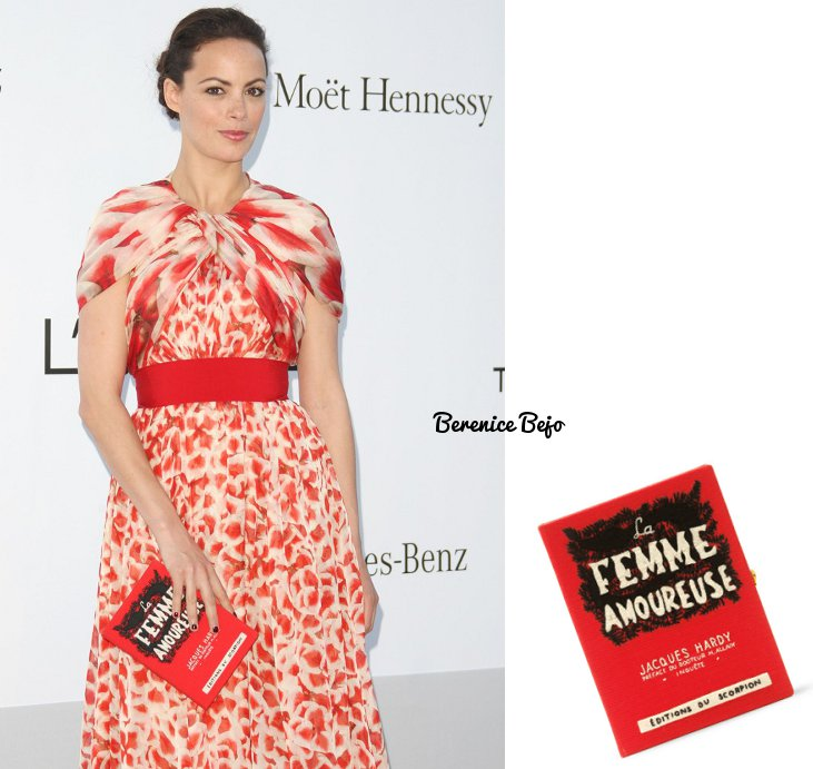 """She chose an exquisite accessory to complete her outfit: an Olympia Le-Tan  book clutch! The """"cover"""" of this clutch is inspired to the cover of the  first ..."""