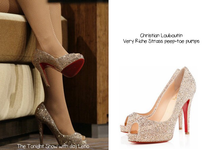 4561ec193ec4 xtina louboutinveryrichestrass She also wore Christian Louboutin Very Riche  Strass peep-toe ...